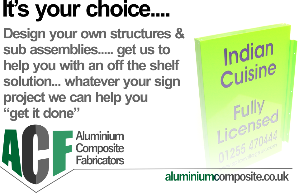 aluminium composite sign tray range