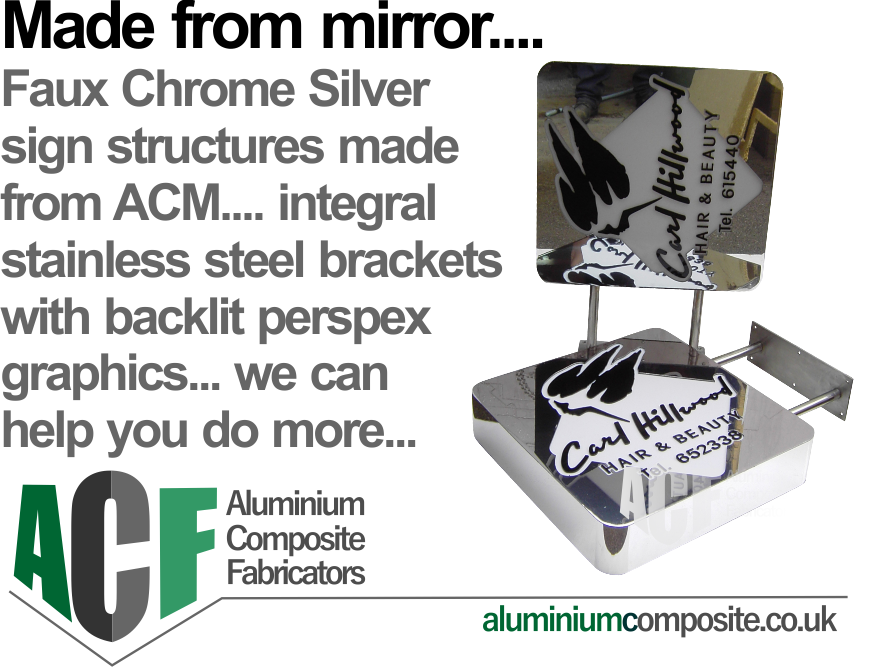 mirrored acm panels on a frame