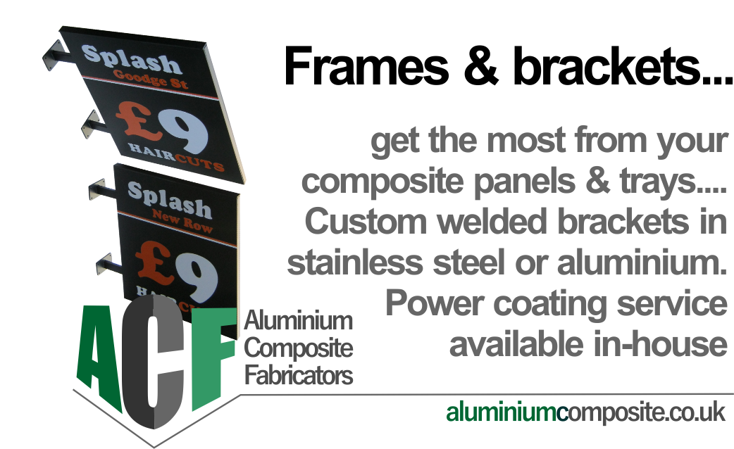 sign grade composite panels on metal bracket